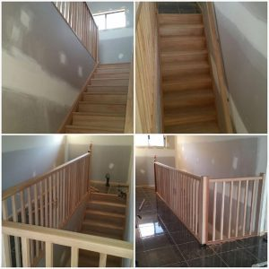 staircase with risers landing and plain rail balusters and handrail Steve Treveton Tsv